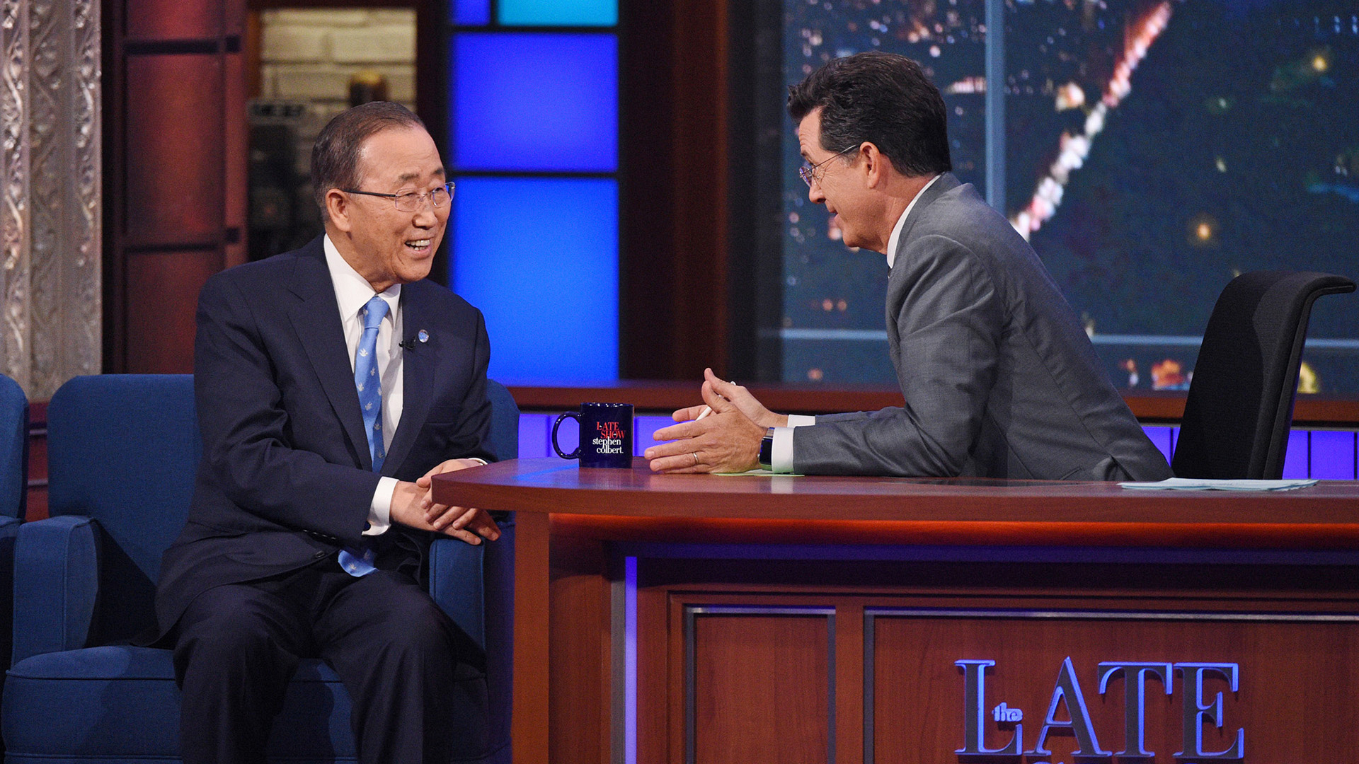 Ban Ki-moon and Stephen Colbert
