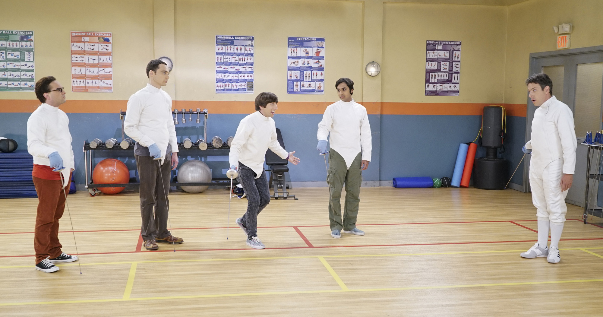 Kripke shows the guys a few introductory fencing moves