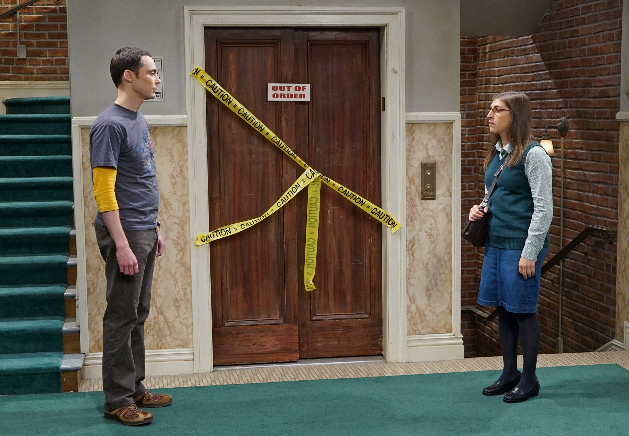 Sheldon and Amy run into each other in the hallway and an awkward moment ensues