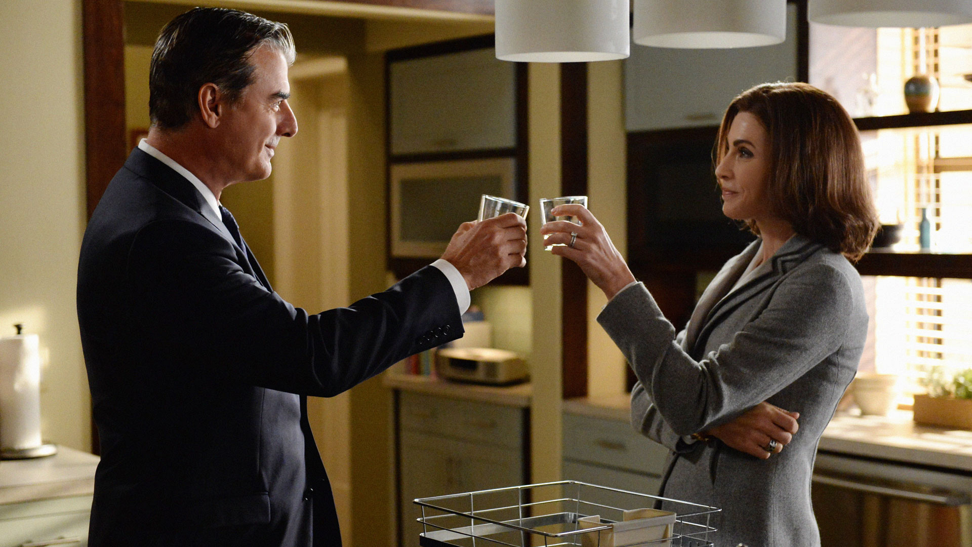 Chris Noth as Peter Florrick and Julianna Margulies as Alicia Florrick