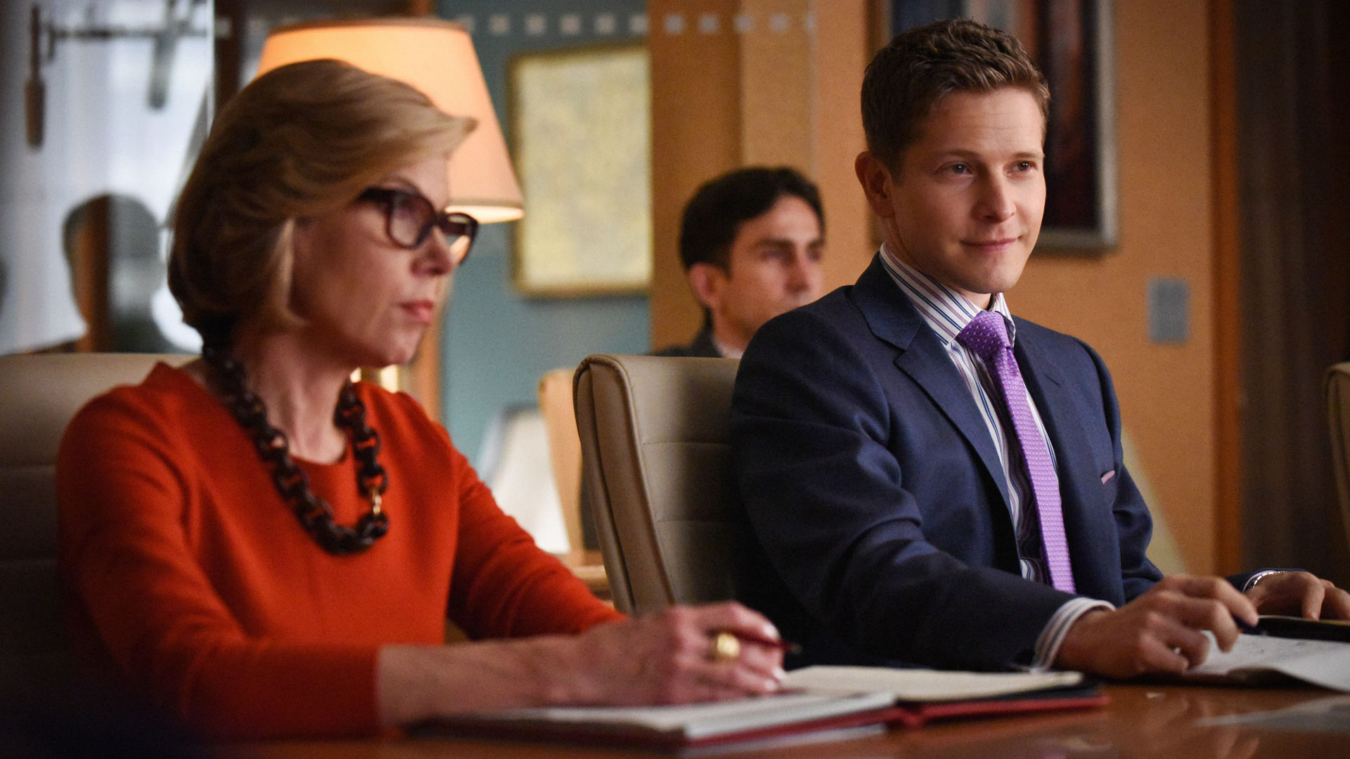 Christine Baranski as Diane Lockhart and Matt Czuchry as Carey Agos