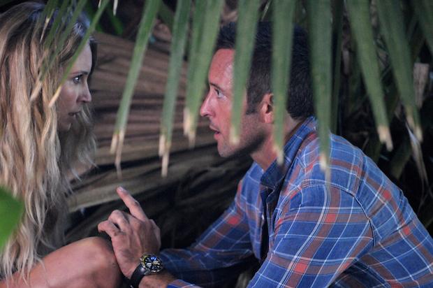 Sarah Carter as Lynn Downey and Alex O'Laughlin as Steve McGarrett
