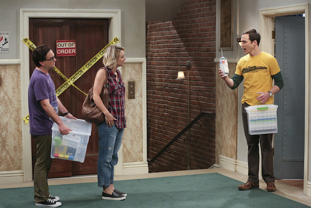 Sheldon speaks with Penny and Leonard about their current living situation