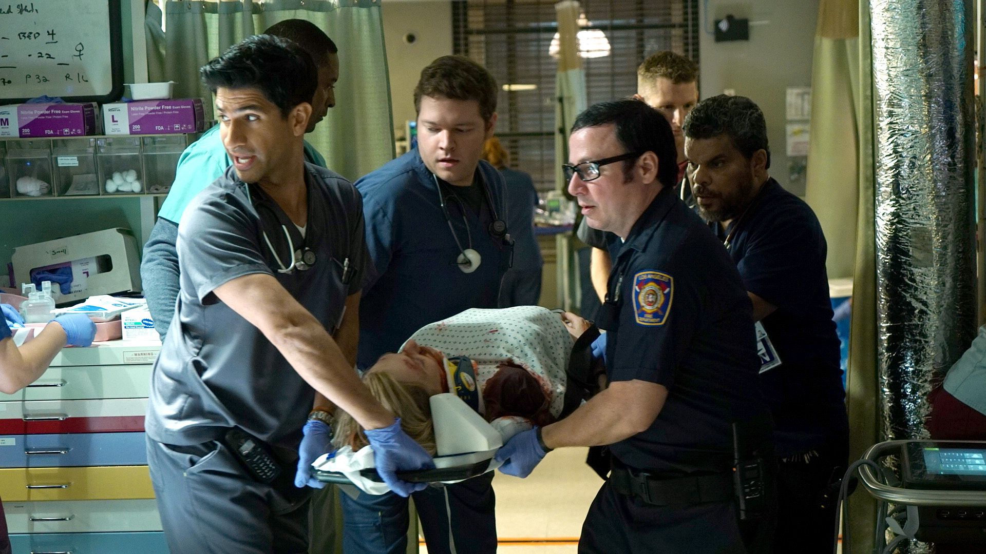 Raza Jaffrey as Dr. Neal Hudson, Harry Ford as Dr. Angus Leighton, and Luis Guzmán as Jesse Sallander