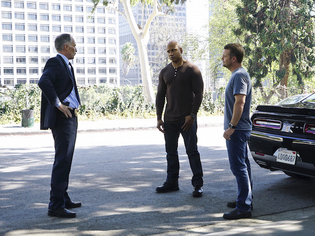 Patrick St. Esprit as Roger Bates, LL COOL J as Sam Hanna, and Chris O'Donnell G. Callen