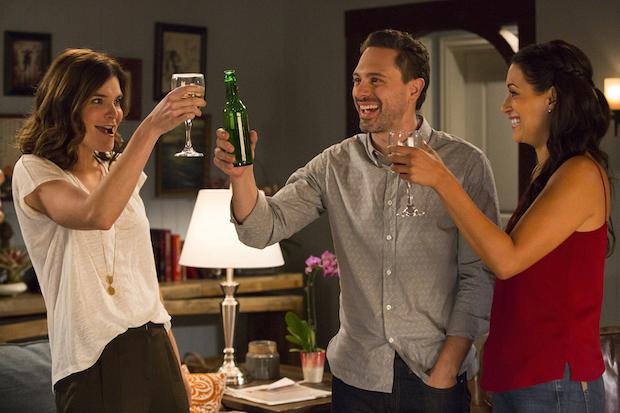Heather, Matt, and Colleen toast to good news