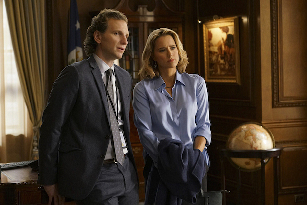 Sebastian Arcelus as Jay Whitman and Téa Leoni as Elizabeth McCord