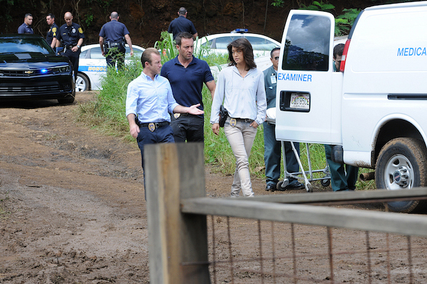 "Scott Caan as Danny ""Danno"" Williams, Alex O'Loughlin as Steve McGarret, and Grace Park as Kono Kalakaua"