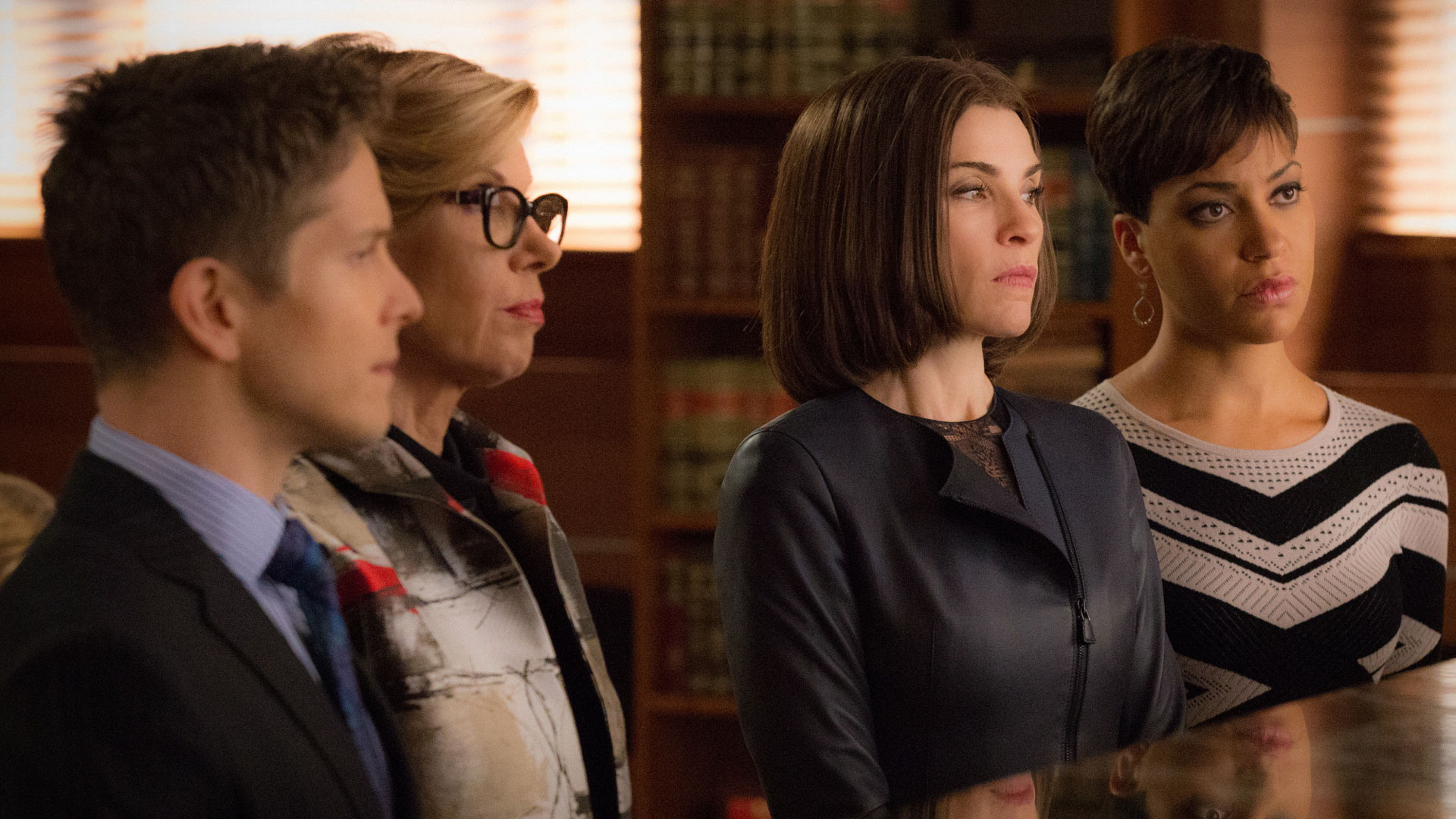 Matt Czuchry as Cary Agos, Christine Baranski as Diane Lockhart, Julianna Margulies as Alicia Florrick, and Cush Jumbo as Lucca Quinn