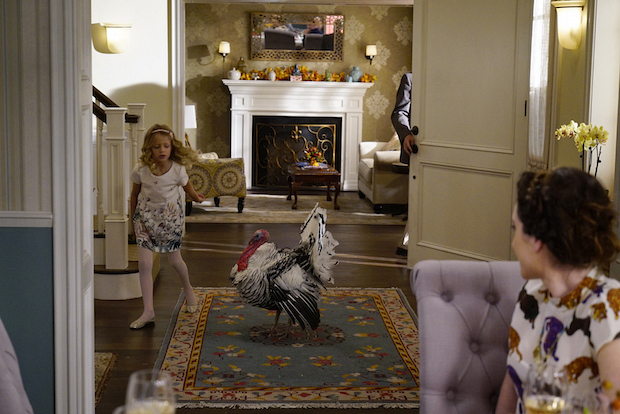 Sophia chases after the turkey