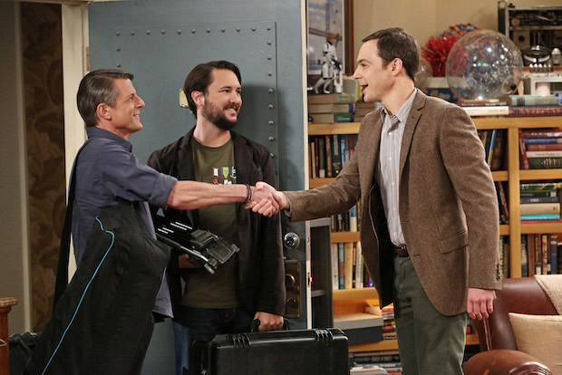 Sheldon greets Wil Wheaton and the son of Mr. Spock, Adam Nimoy