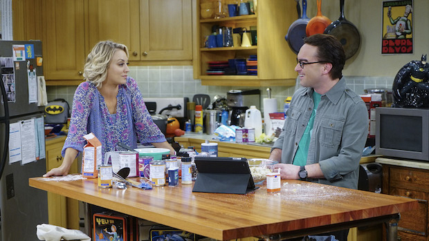 Penny and Leonard prep their own Thanksgiving feast