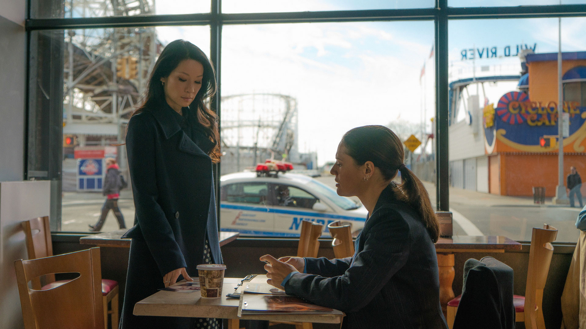 Lucy Liu as Dr. Joan Watson and Monique Gabriela Curnen as Detective Gina Cortez