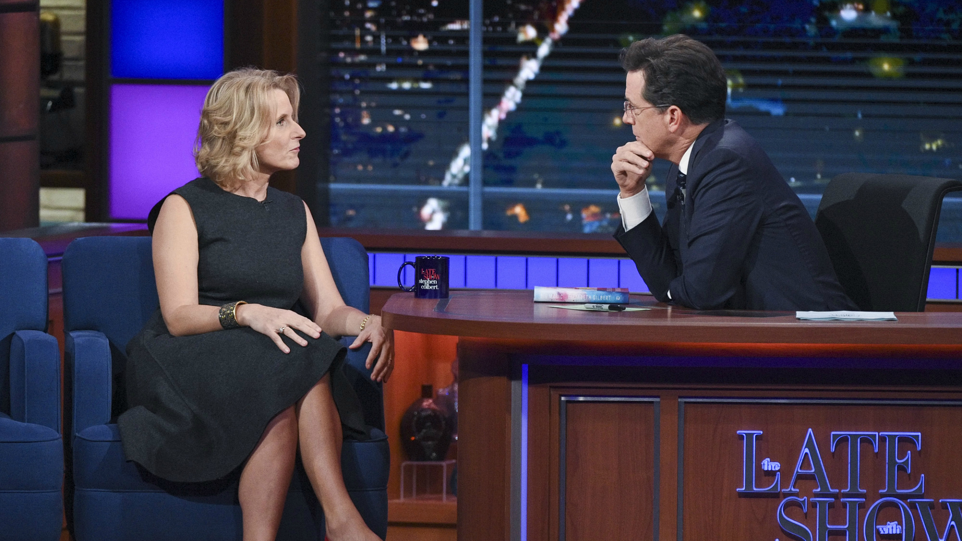 Elizabeth Gilbert and Stephen Colbert