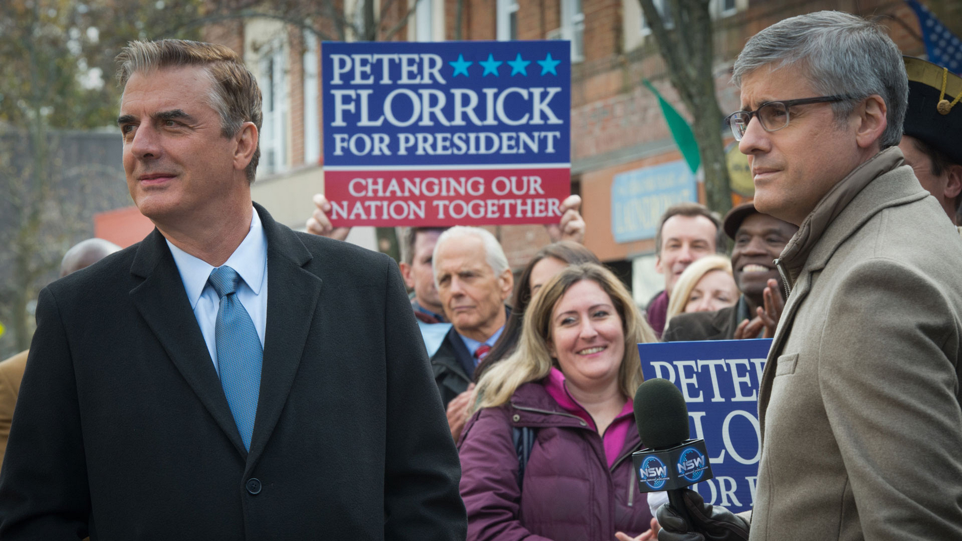 Chris Noth as Peter Florrick and Mo Rocca as Ted Willoughby