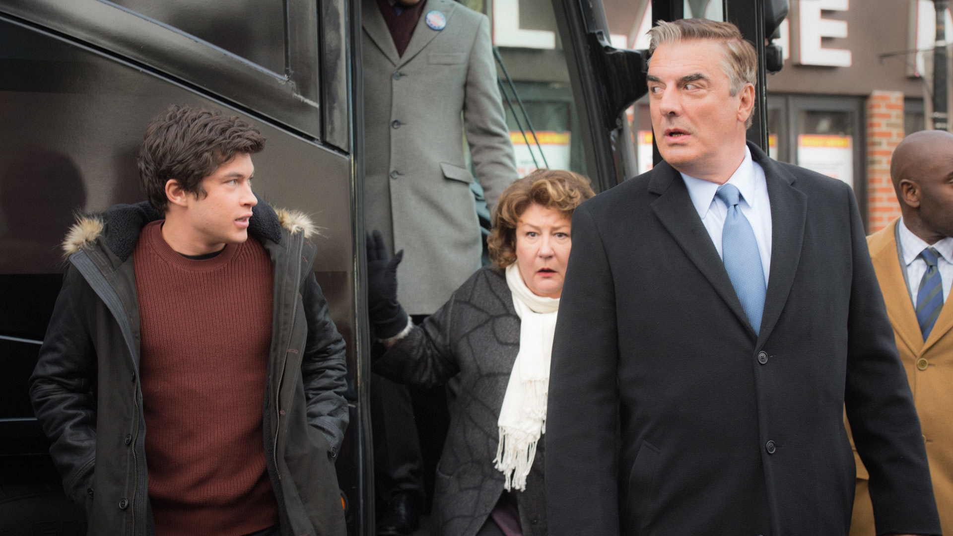 Graham Phillips as Zach Florrick, Margo Martindale as Ruth Eastman, and Chris Noth as Peter Florrick