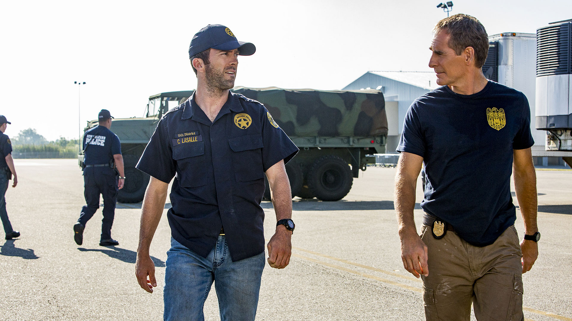 Lucas Black as Christopher LaSalle and Scott Bakula as Dwayne Pride