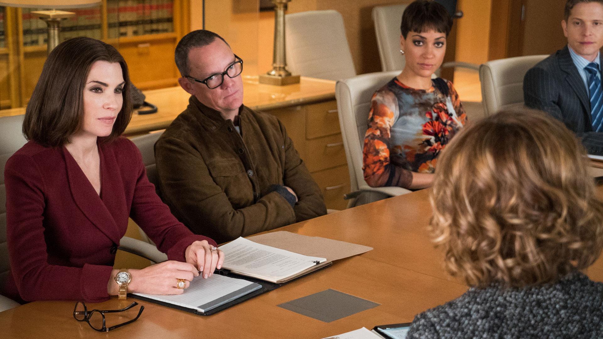 Julianna Margulies as Alicia Florrick, Matthew Lillard as Musician Rowby Canton, and Cush Jumbo as Lucca Quinn