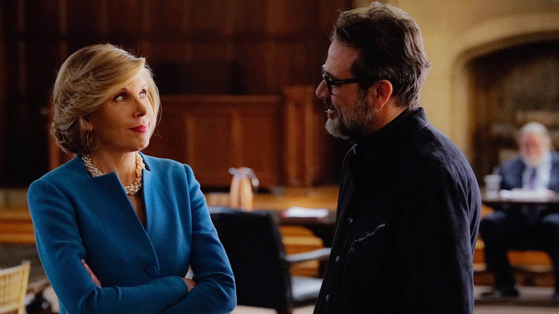 Christine Baranski as Diane Lockhart and Jeffrey Dean Morgan as Jason Crouse