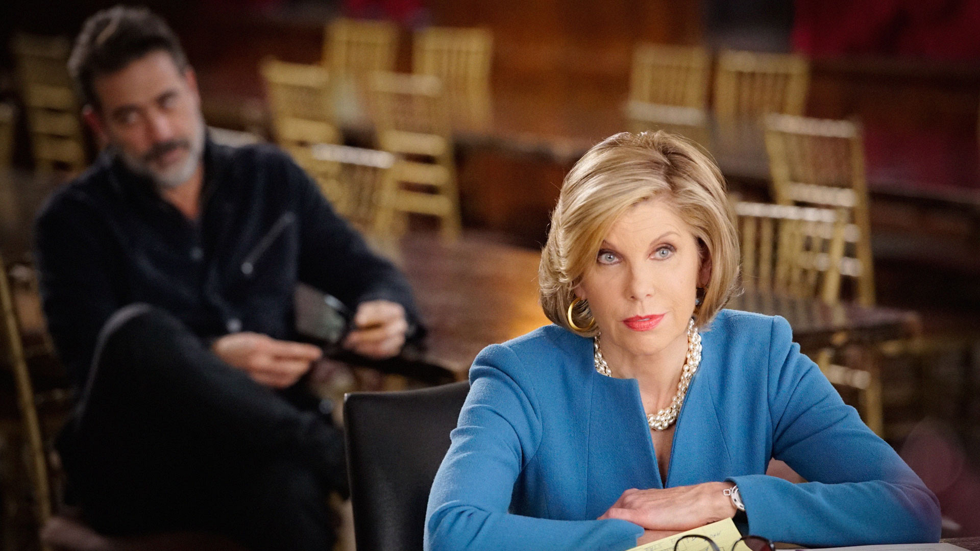 Jeffrey Dean Morgan as Jason Crouse and Christine Baranski as Diane Lockhart