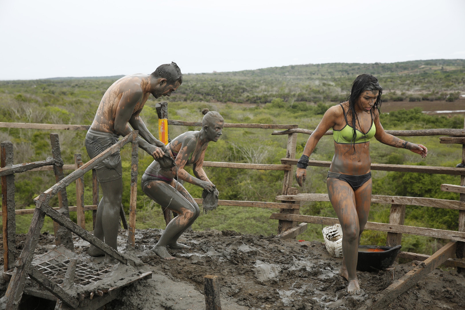 Korey, Ashley, and Dana climb up the Totumo Mud Volcano.