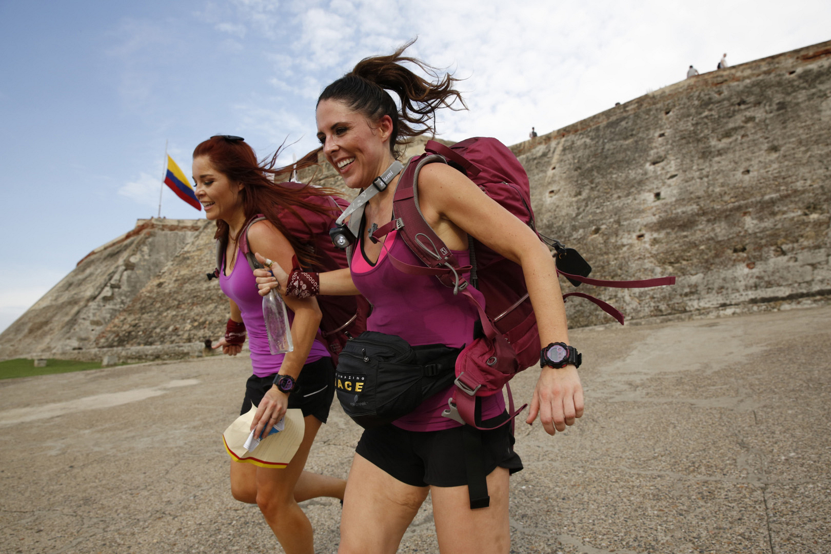 Erin and Joslyn pump themselves up before exploring the catacombs.
