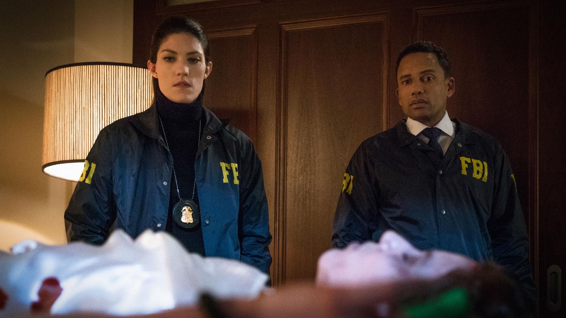 Jennifer Carpenter as Agent Rebecca Harris and Hill Harper as Agent Spellman Boyle
