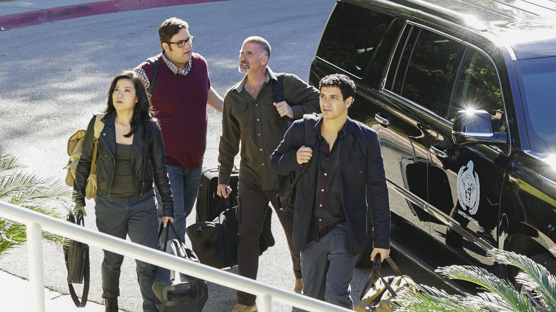 Jadyn Wong as Happy Quinn, Sylvester Dodd as Ari Stidham, Jeff Fahey as Kenneth Dodd, and Elyes Gabel as Walter O'Brien
