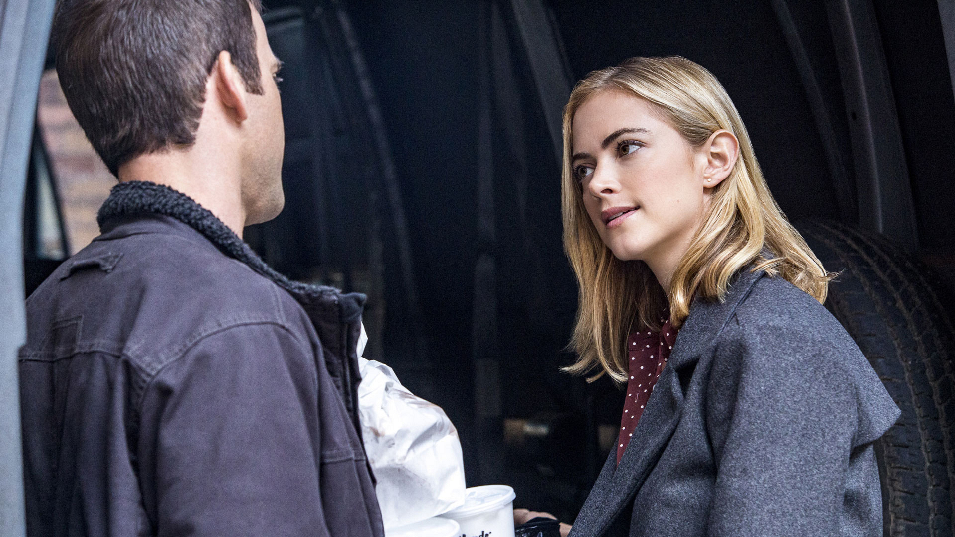 Christopher LaSalle as Lucas Black and Emily Wickersham as Agent Ellie Bishop
