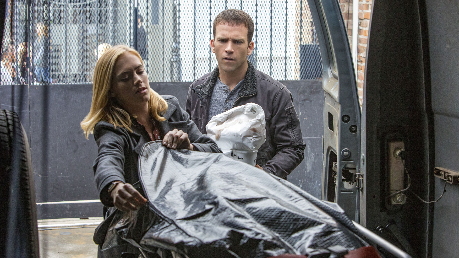 Emily Wickersham as Agent Ellie Bishop and Christopher LaSalle as Lucas Black