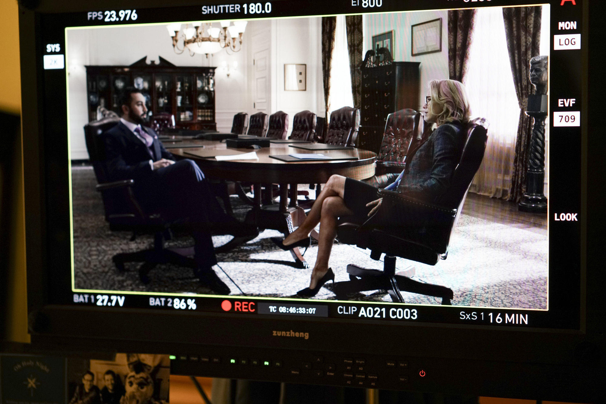 Nuah Ozryel as Prince Asim and Téa Leoni as Elizabeth McCord film their scene.