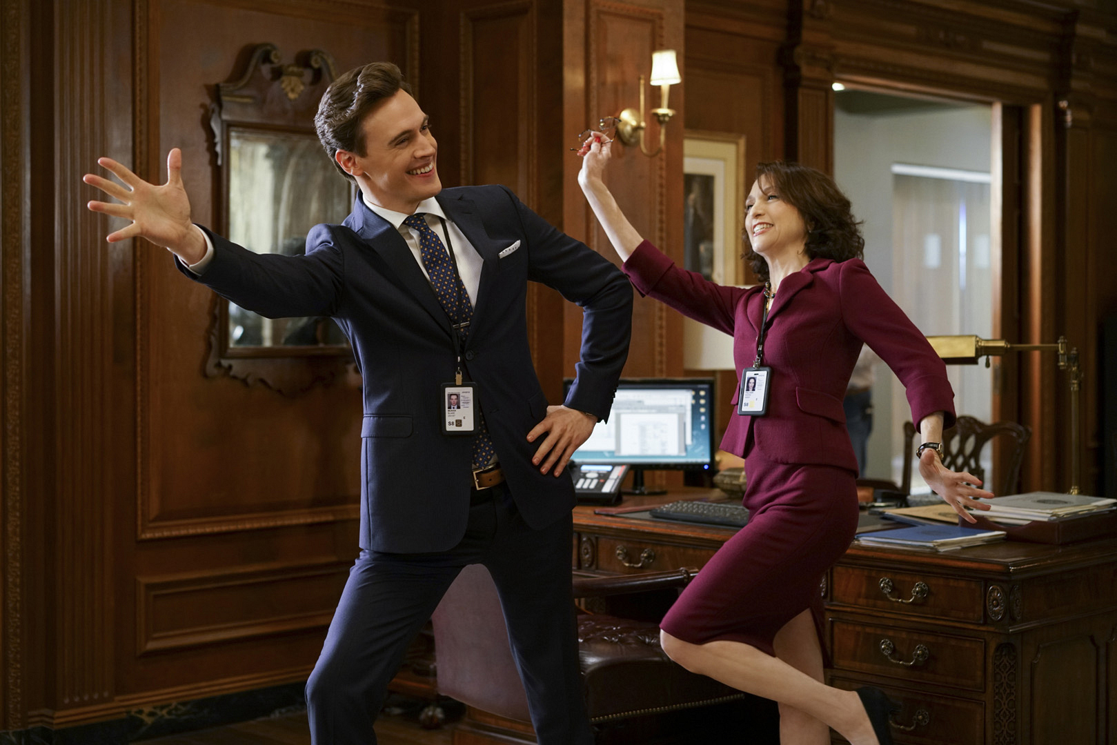 """Madam Secretary's Erich Bergen and Bebe Neuwirth let loose during the taping of the episode """"Left Of The Boom."""""""