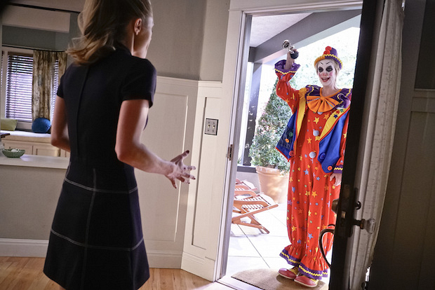 Allison gets a surprise visit from Amy dressed as a clown.