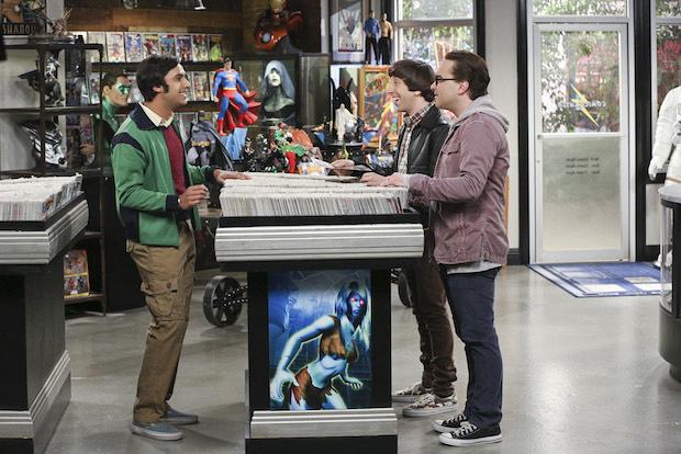 Raj, Howard, and Leonard make a stop at the comic-book store.