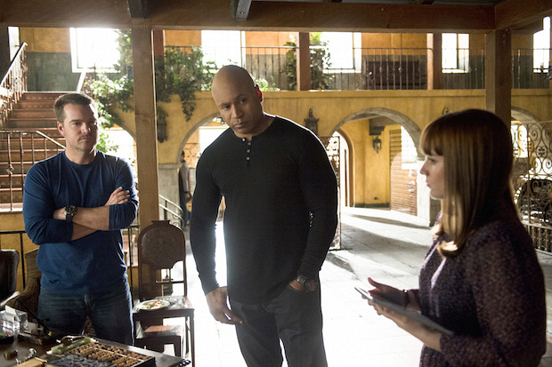 Chris O'Donnell as G. Callen, LL COOL J as Sam Hanna, and Renée Felice Smith as Nell Jones