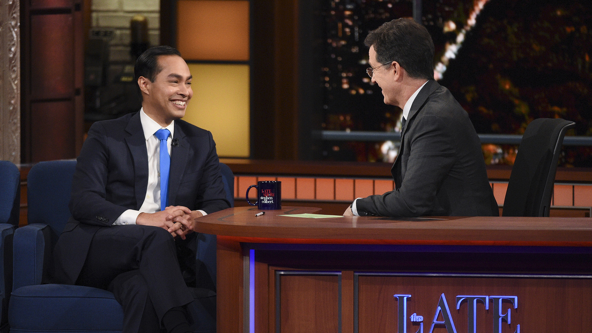 Julian Castro and Stephen Colbert