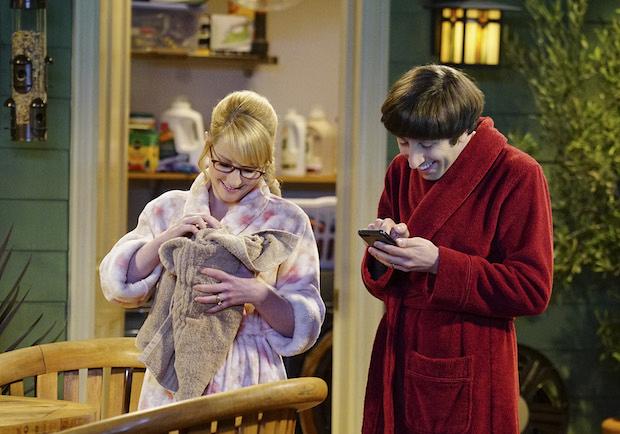 Bernadette cuddles the couple's surprise guest.