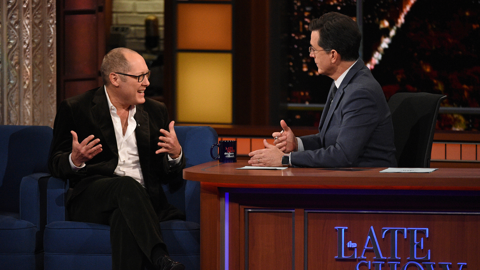 James Spader and Stephen Colbert