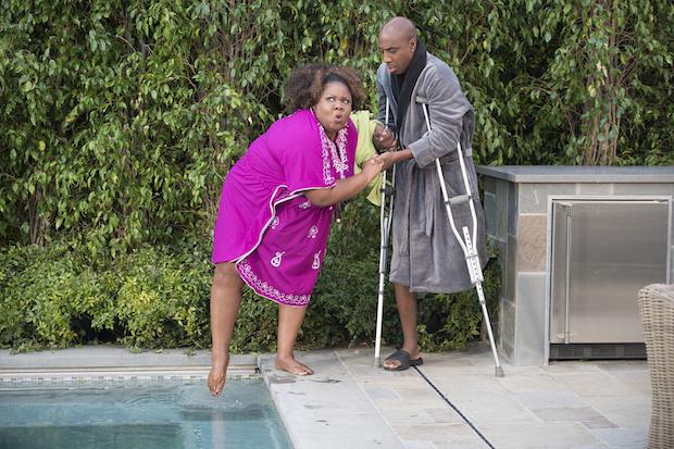 Joan and John's neighbors test the hot-tub waters.