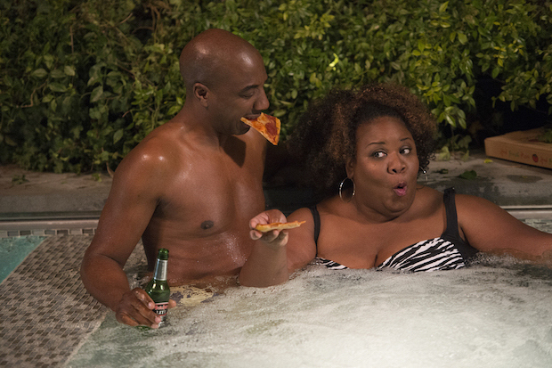 Pizza is the perfect hot-tub food for these combative neighbors.