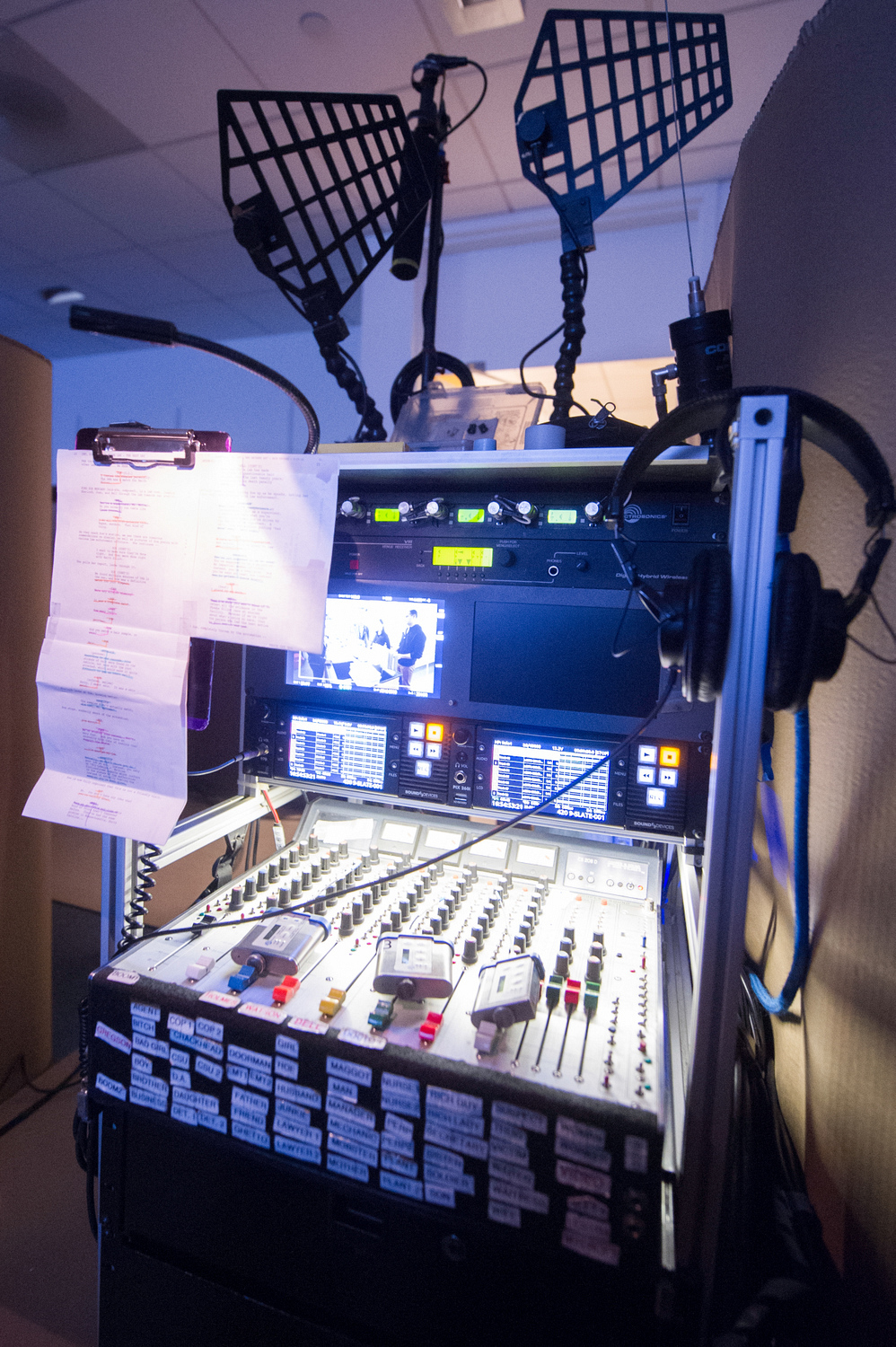 A mixing board controls all the mics on set