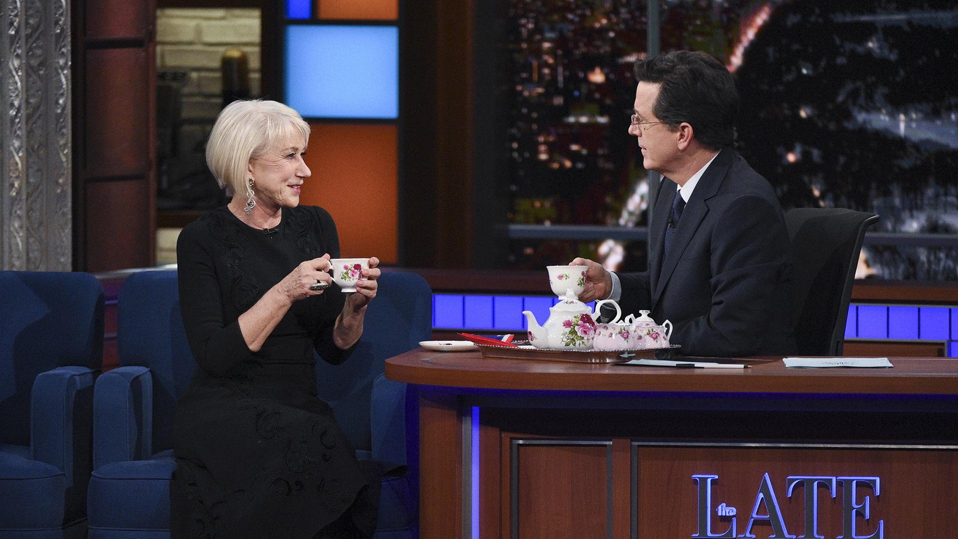 Helen Mirren and Stephen Colbert