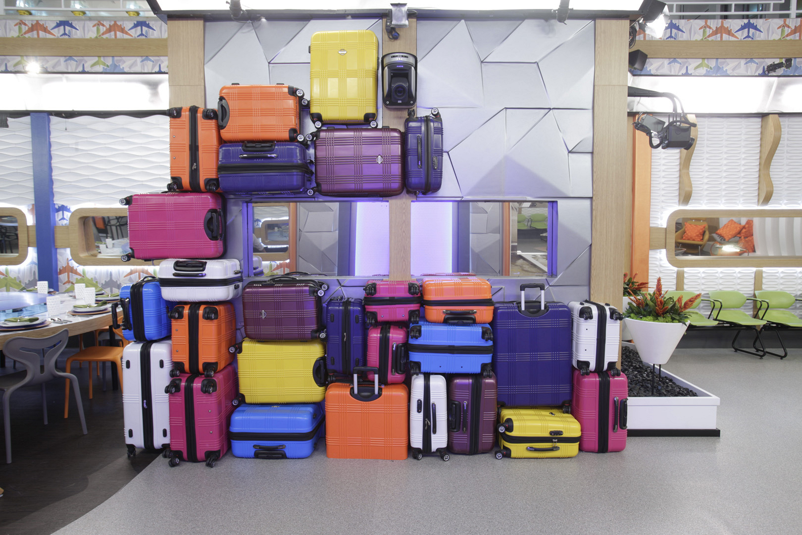 This fun luggage display is a playful nod to all the adventures in store this summer.
