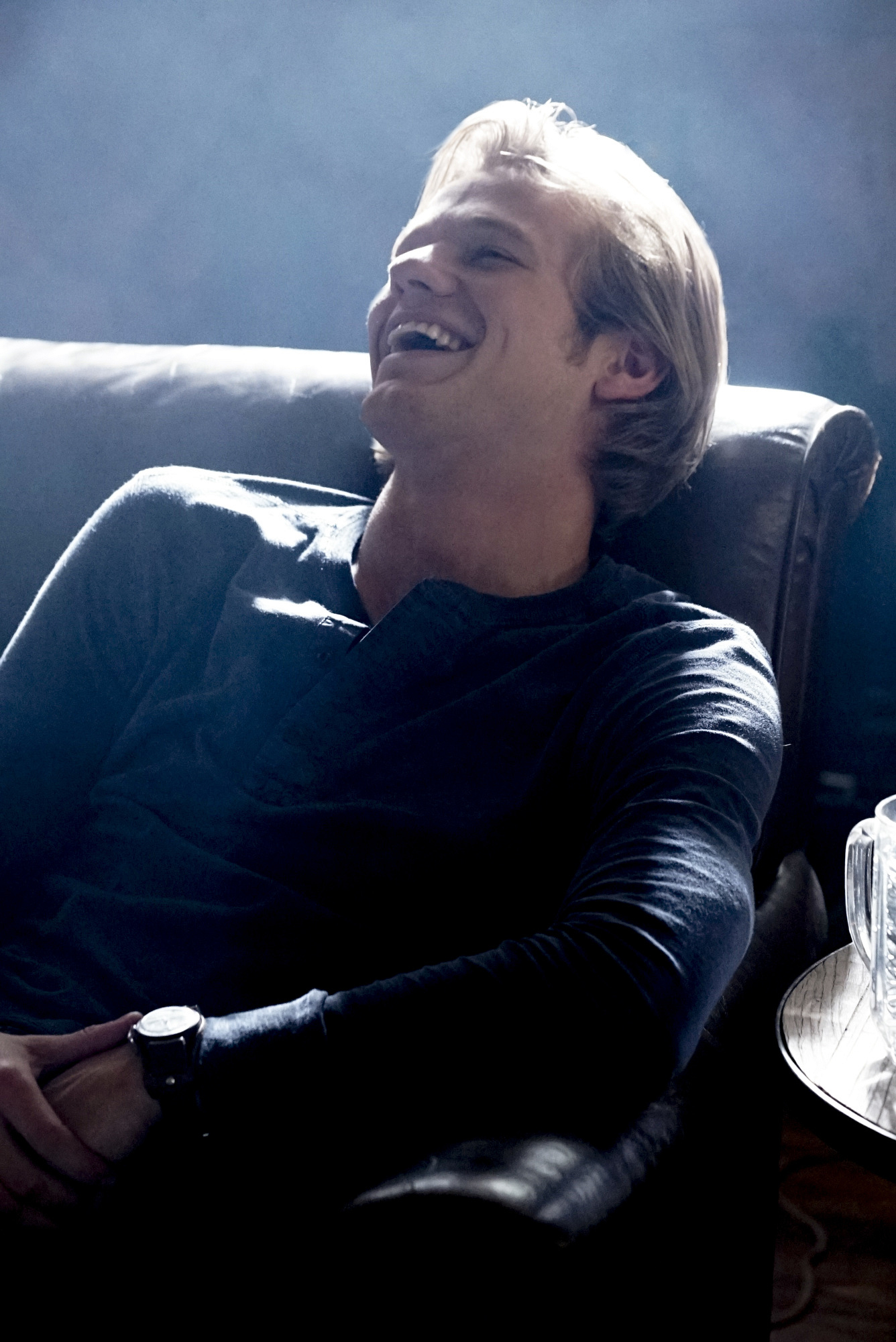 MacGyver kicks back and laughs.
