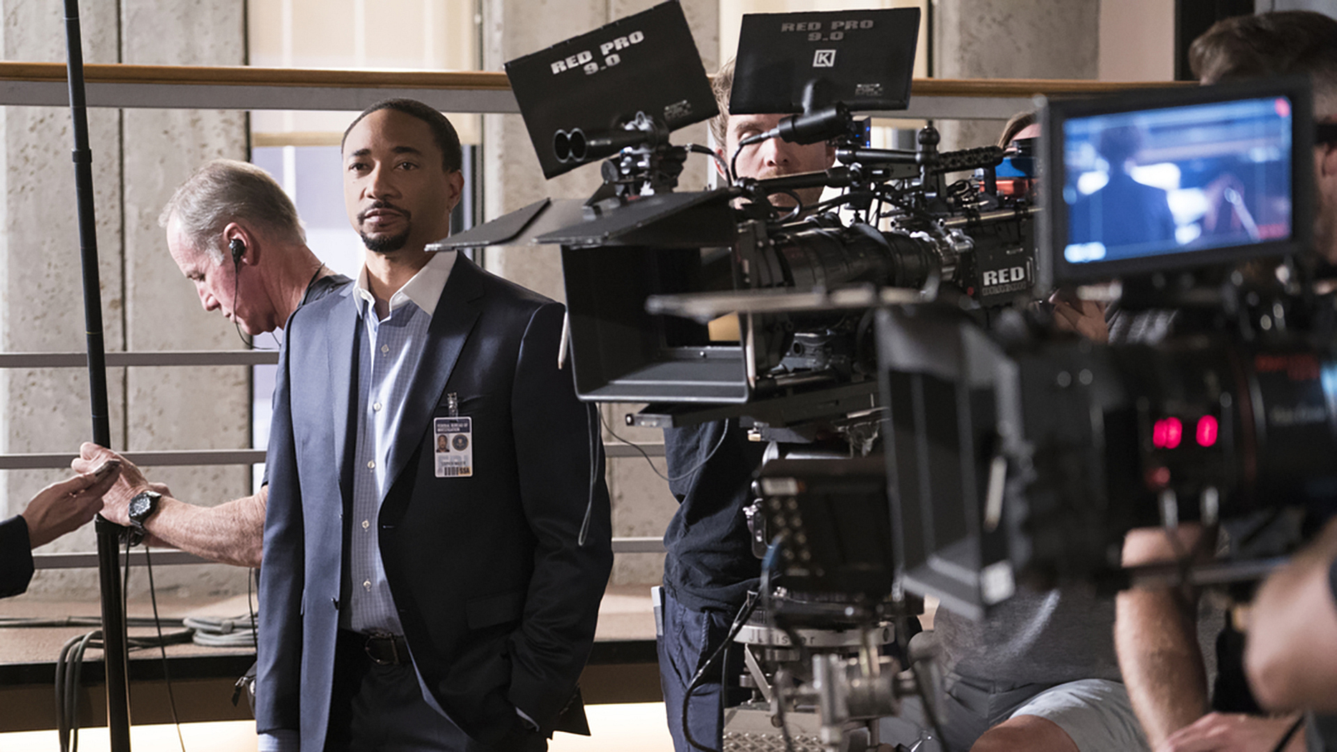 Damon Gupton prepares for filming at the BAU.