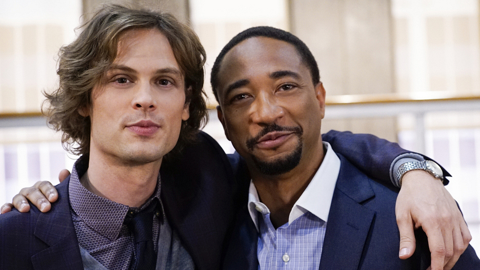 Matthew Gray Gubler and Damon Gupton mug for a quick photo between takes.