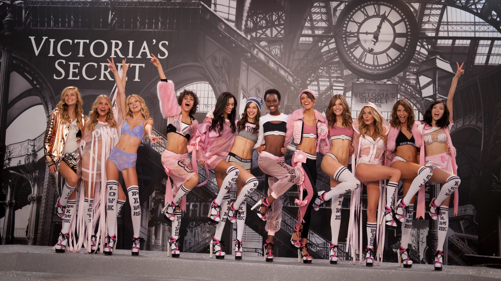 The PINK models pose together after the show.