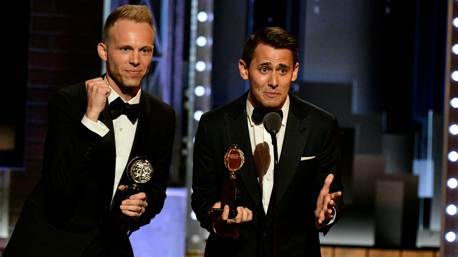 Benj Pasek & Justin Paul win the 71st Annual Tony Award for Best Original Score (Music and/or Lyrics) Written for the Theatre