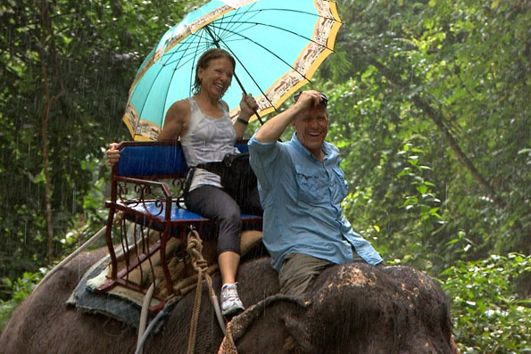 Bill and Cathi Ride An Elephant in Bangkok, Thailand