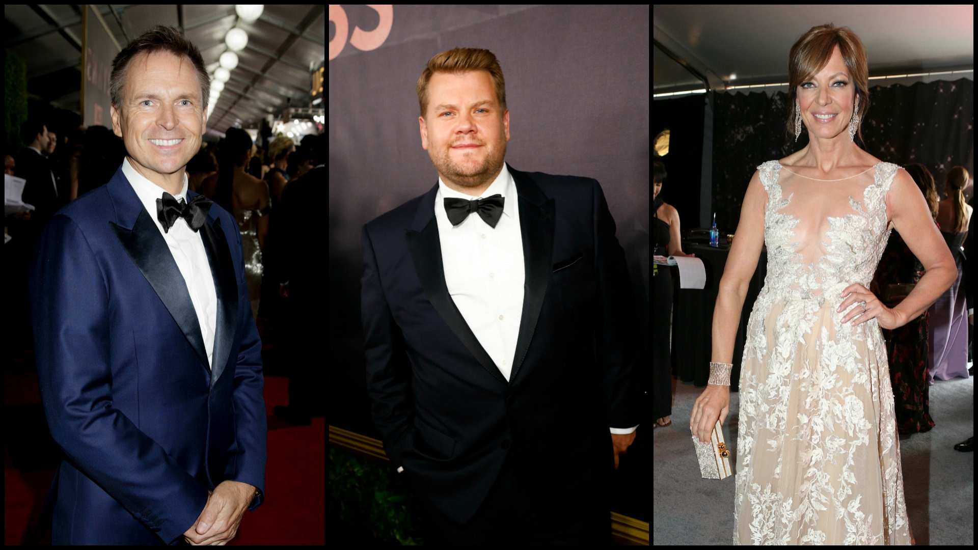 Phil Keoghan from The Amazing Race, James Corden from The Late Late Show, and Allison Janney from Mom